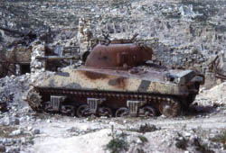 M4 Sherman Tank Destroyed near Cassino, Italy