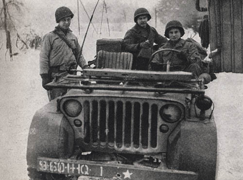 Jeep from HQ of 60th Infantry Regiment, 9th Infantry Division
