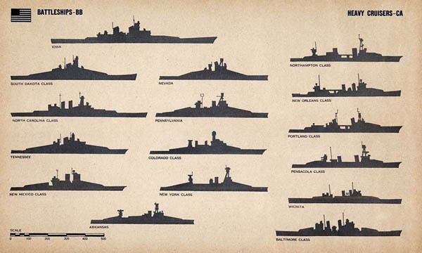 WW2 U.S. Navy Battleships and Cruisers