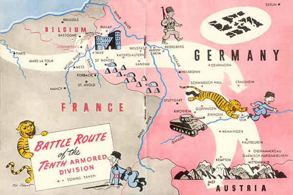 Battle Route of the 10th Armored Division