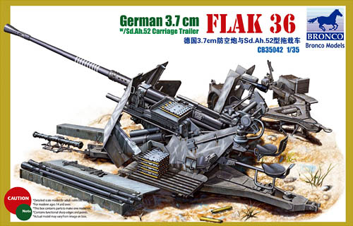 German 3.7 cm Flak 36 w/ Sd.Ah. 52 Carriage Trailer