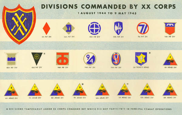 Divisions Commanded by the U.S. XX Corps in 1944-1945 during WW2