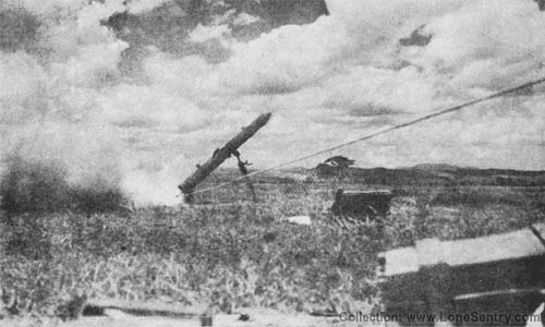 Japanese WW2 Army 20-cm SS Rocket and Type 4 Launcher (Firing)