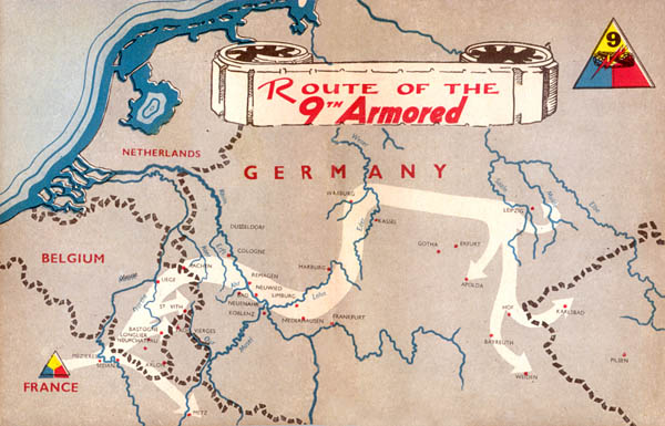 Route of the 9th Armored Division