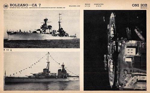 WW Bolzano Heavy Cruiser, Regia Marina