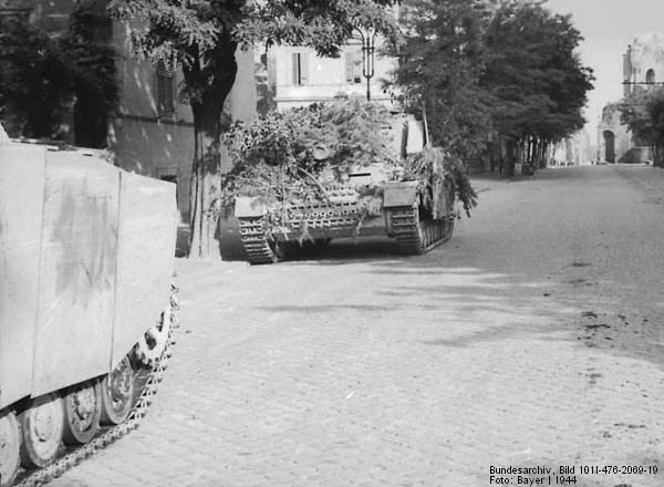 Brummbarr Sturmpanzer IV in Rome, Italy during WW2