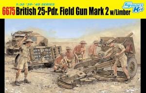 Dragon-6675 Scale Model Kit: British 25-pdr. Field Gun Mark 2