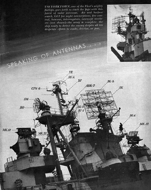 USS Yorktown Aircraft Carrier Flattop Radar Antennas