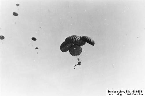 37-mm Antitank Gun dropped by Triple Parachute over Crete