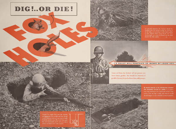 Foxholes Dig or Die (WW2 Training Poster)