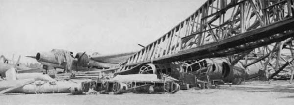 Wrecked Hanger at Atsugi Airfield, Tokyo, Japan in WW2