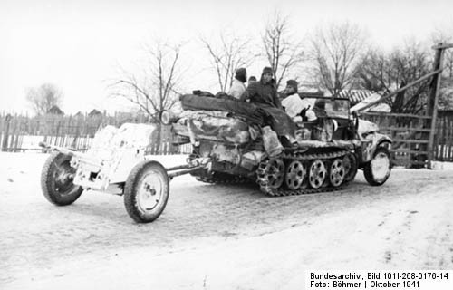 Sd.Kfz. 10 Halftrack Tows 37-mm Pak 36 Antitank Gun