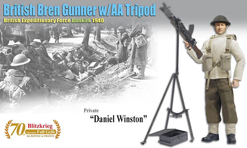DRF 70801: 1/6th Daniel Winston (Private) - British Bren Gunner w/AA Tripod British Expeditionary Force, Dunkirk 1940