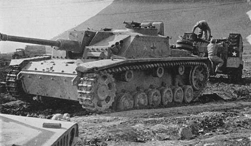 Captured StuG III Self-Propelled Assault Gun near Monte Cassino, Italy