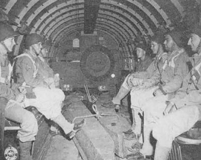 Interior C-47 Cargo Aircraft with Jeep and Soldiers