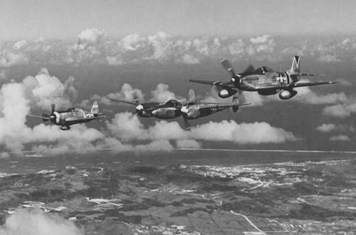 P-51, P-38 and P-47 Fighters over Saipan