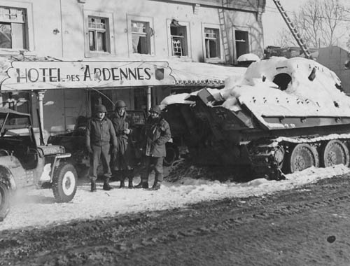 Panther Tank at Hotel des Ardennes in Ligneuville