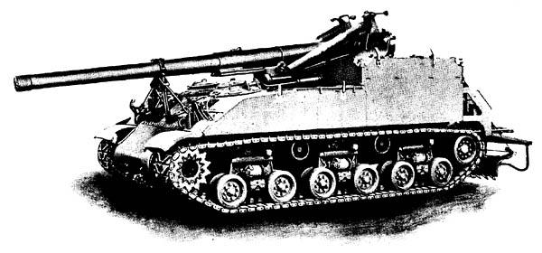 155-mm Gun on Gun Mount M13 on Gun Motor Carriage M40 -- Side View