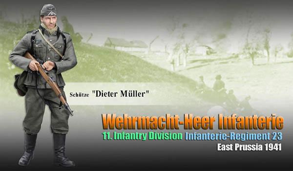 Schütze Dieter Müller Wehrmacht-Heer Infantry, Infanterie-Regiment 23, 11. Infanterie-Division, East Prussia 1941