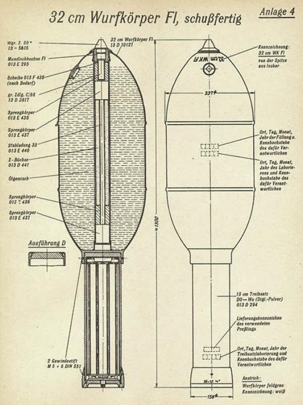 32 cm Wurfkörper Flamm Nebelwerfer Rocket WW2