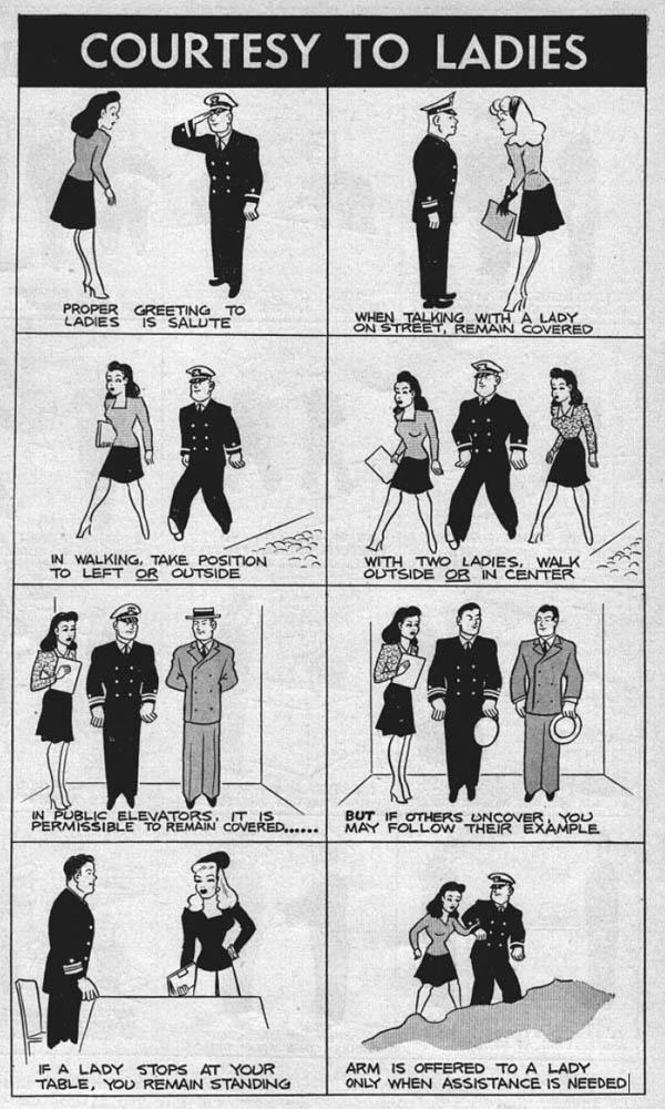 Courtesy to Ladies, U.S. Navy Sailors Military Courtesy