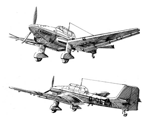 German Ju 87 B-2 Stuka Dive Bomber Drawing Illustration