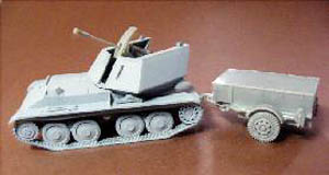 MT72395: Krupp/Ardelt Waffenträger mit 3.7 cm Flak 43 with Ammotrailer, 1/72 Resin + MACO Flak, 27,90 €.