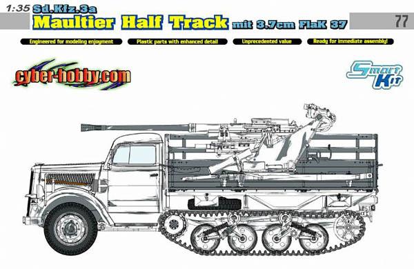Sdkfz 3a Maultier Halftrack mit 37mm FlaK 37 Model Kit