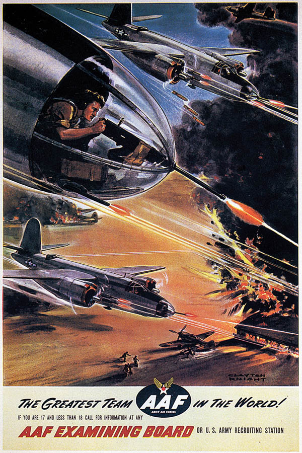 US Army Air Forces Recruiting Poster with Martin B-26 Marauder Nose Gunner