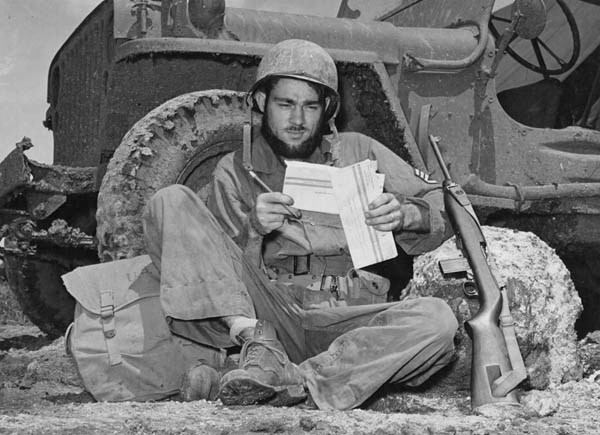 Bearded Soldier with Jeep, Marianas, 1944