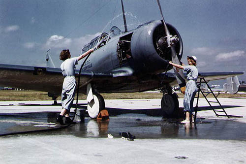 WAVES Wash Navy Airplane in WW2 - Color Photograph