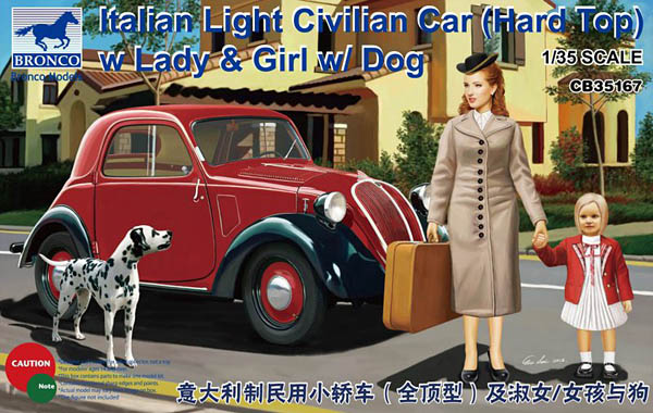 CB35167: 1/35 Italian Light Civillian Car (Hard Top) with Lady & Girl w/ Dog