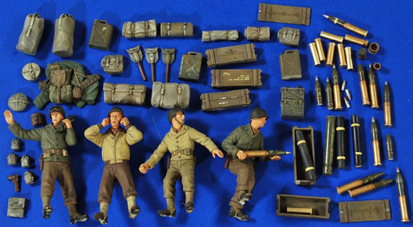 1:35 Scale 105mm Howitzer M101 WWII Crew-Ammo-Gear #2763