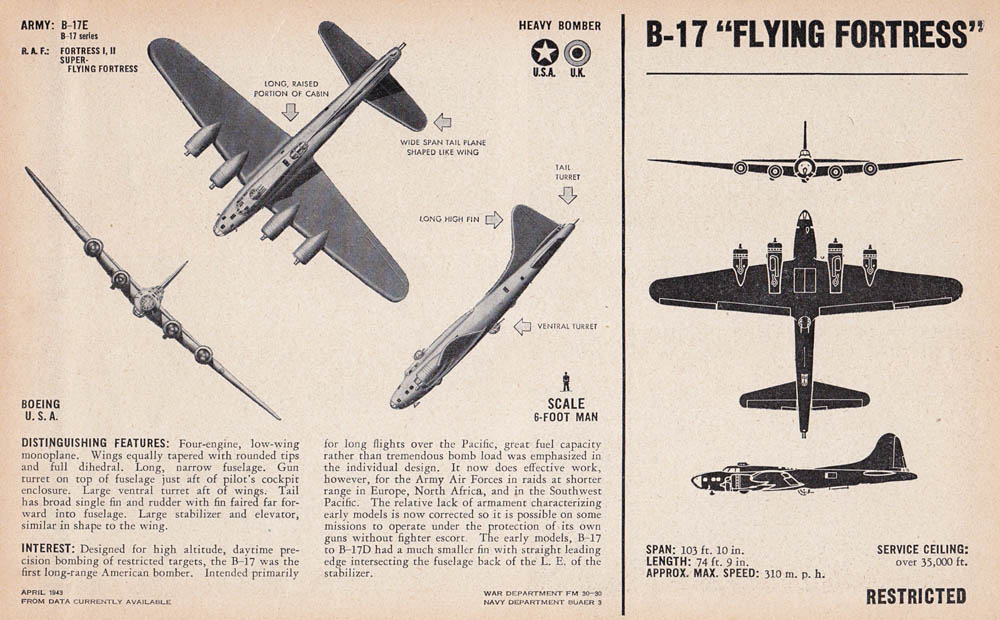 B-17E Flying Fortress Recognition Drawing