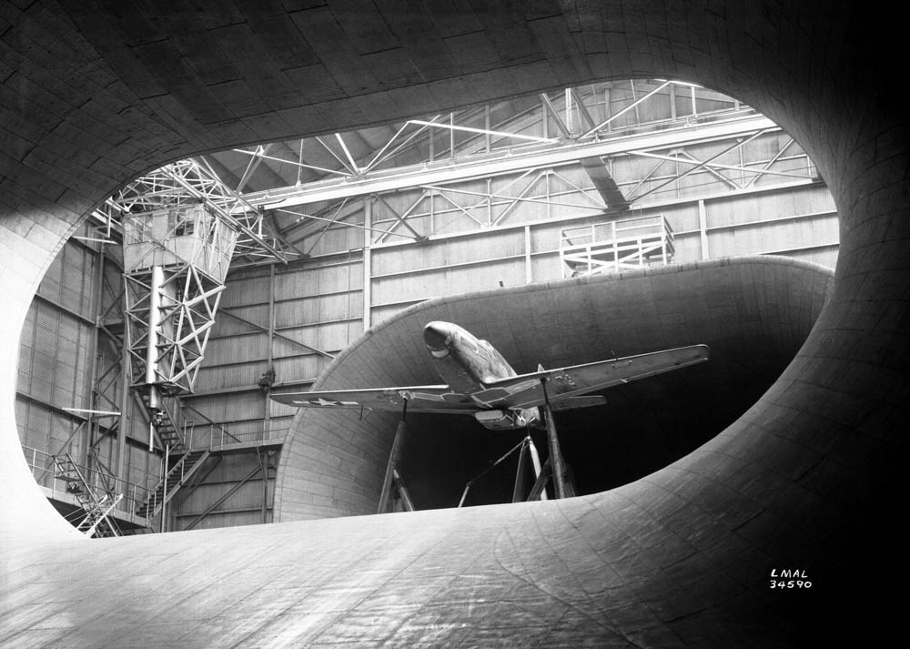 P-51 Mustang in Full-Scale Wind Tunnel at Langley