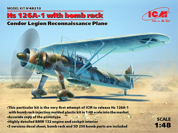 MODEL KIT No 48213 - 1:48 Hs 126A-1 with Bomb Rack, Condor Legion Reconnaissance Plane