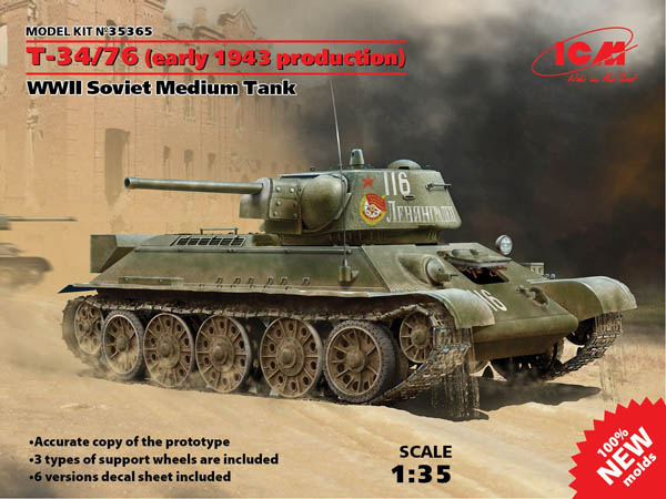 MODEL KIT No 35365 - 1:35 T-34/76 (Early 1943 Production), WWII Soviet Medium Tank
