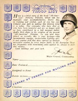 [Dedication, Major General James M. Gavin: 82nd Airborne Division]
