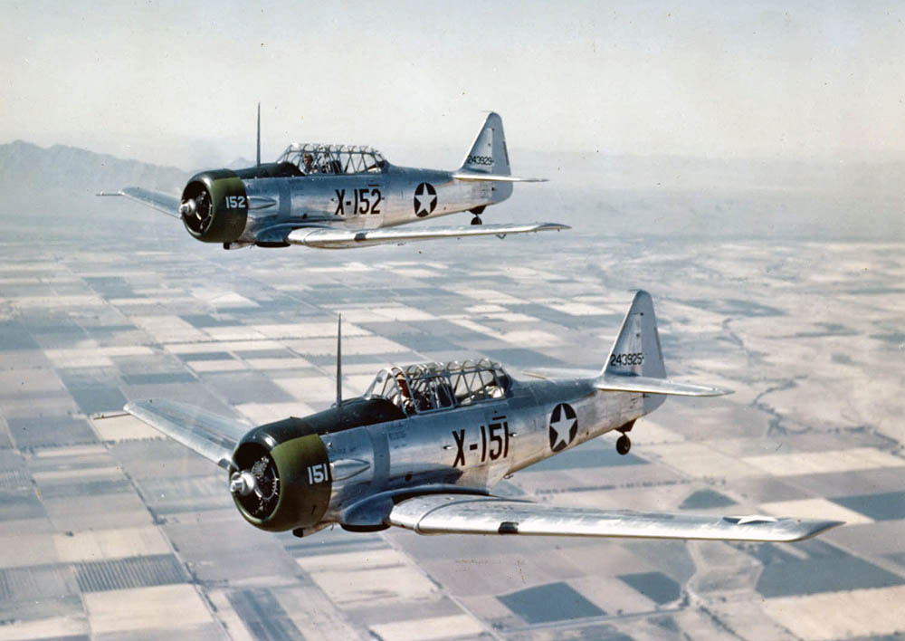 U.S. Army Air Forces North American AT 6C NT Texan trainers (X