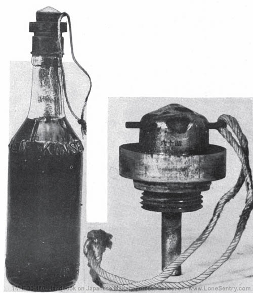 Figure 202.  Molotov cocktail incendiary grenade with fuze.
