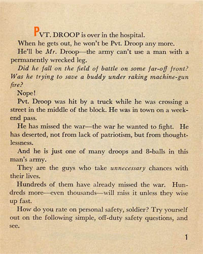 [Pvt. Droop Has Missed the War! Pvt. Droop is over in the hospital.]