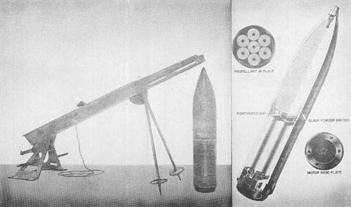 Japanese 20 cm Rocket Projectile and Launcher