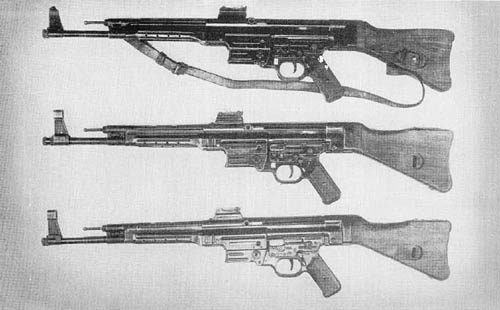 7.92 Submachine Gun: Top. M. P. 43; Center. M. P. 43/1; Bottom, M. P. 44