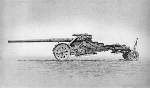 17 cm K. mit Mrs. Laf. 18: Field Gun on 21 cm Mrs. Laf. 18 Carriage